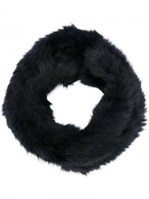Шарф из кроличьего меха Yves Salomon Accessories. Цвет: чёрный