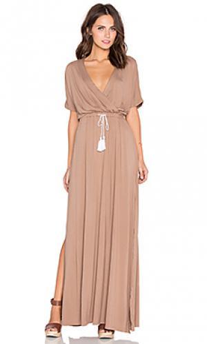 Макси платье с перекрестными шлейками спереди billow Toby Heart Ginger. Цвет: коричневый