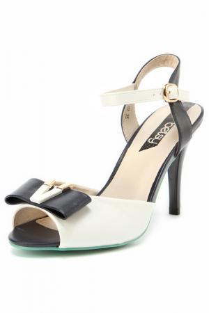 Туфли открытые Betsy. Цвет: белый, темно-синий