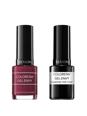 Revlon Набор: 011 гель-лак colorstay gel envy queen of hearts 600 + верхнее покрытие. Цвет: темно-бордовый