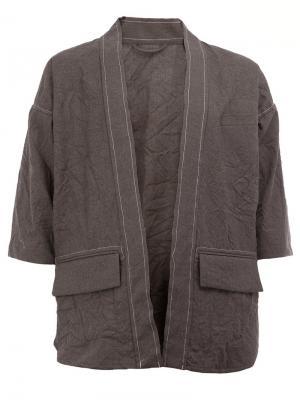 Пиджак с укороченными рукавами Wooster + Lardini. Цвет: серый