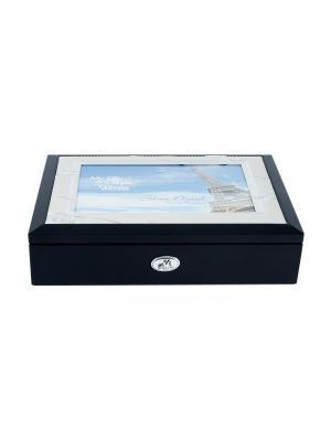 Шкатулка-фоторамка ювелирная MORETTO. Цвет: черный, синий, серебристый