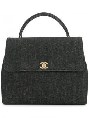 Сумка-тоут с логотипом CC Chanel Vintage. Цвет: чёрный