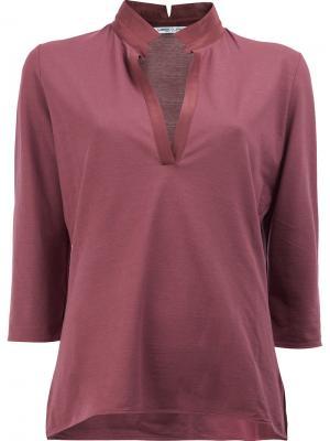 Укороченная блузка с V-образным вырезом Lamberto Losani. Цвет: красный