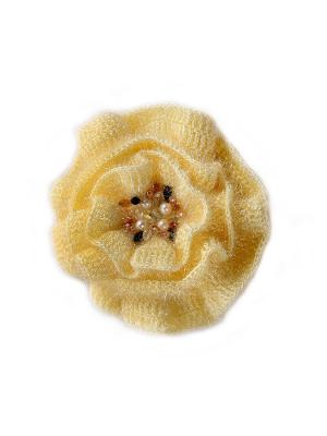 Брошь-цветок вязаный вручную Мак пушистый экрю расшитый натуральным жемчугом, стразами Swarovski SEANNA. Цвет: желтый