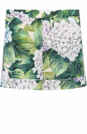 Хлопковые шорты с цветочным принтом Dolce & Gabbana. Цвет: зеленый