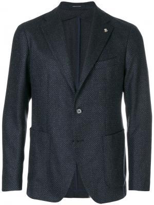 Пиджак с мелким узором Tagliatore. Цвет: синий
