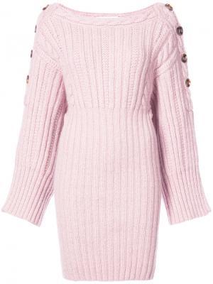 Платье-свитер с косами Spencer Vladimir. Цвет: розовый и фиолетовый