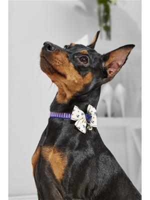 Текстильный ошейник с бабочкой для мелких пород собак весом до 6 кг и объемом шеи 20-28 см Nothing but Love. Цвет: кремовый, розовый, синий