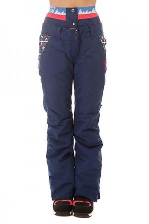 Штаны сноубордические женские  Squad Dark Blue Flower Print Picture Organic. Цвет: синий