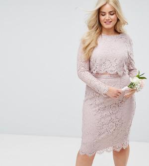 ASOS Curve Кружевное платье-футляр миди с длинными рукавами WEDDING. Цвет: розовый