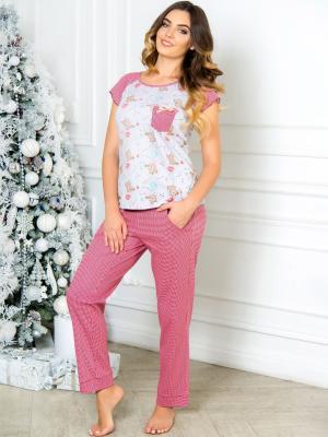 Пижама Daina. Цвет: красный, светло-серый