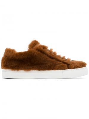 Меховые кроссовки со шнуровкой Jil Sander. Цвет: коричневый