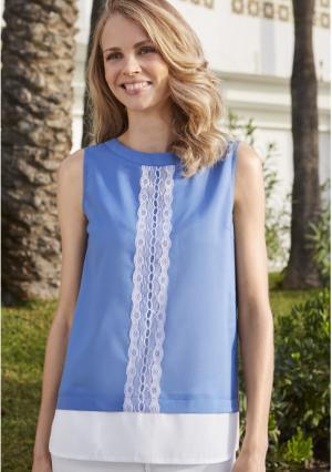 Блузка MY STYLE. Цвет: голубой