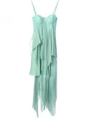 Многослойное длинное  платье Marios Schwab. Цвет: зелёный