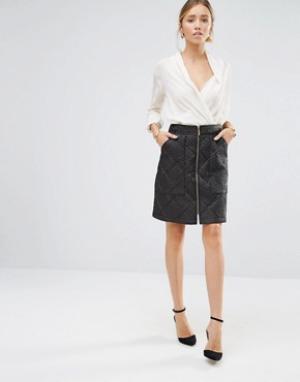 Closet London Стеганая юбка на молнии спереди. Цвет: черный
