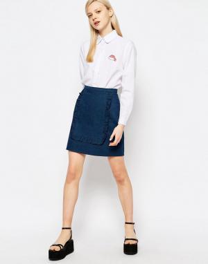 The WhitePepper Мини-юбка с оборками на вставке. Цвет: синий