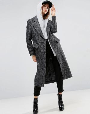 ASOS Монохромное фактурное пальто бойфренда. Цвет: мульти
