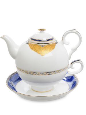 Чайный набор Золотой Палермо (Gold Palermo Pavone) Pavone. Цвет: белый, золотистый, синий