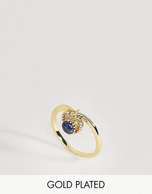Rock 'N' Rose Кольцо с лазуритом. Цвет: золотой