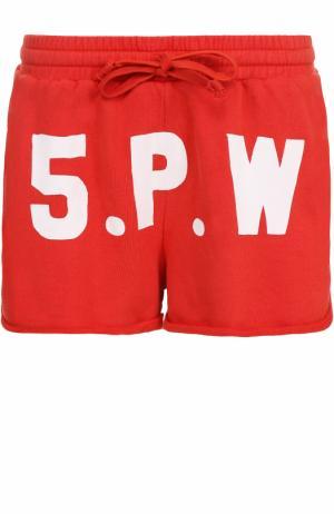 Хлопковые мини-шорты с контрастной надписью 5PREVIEW. Цвет: красный