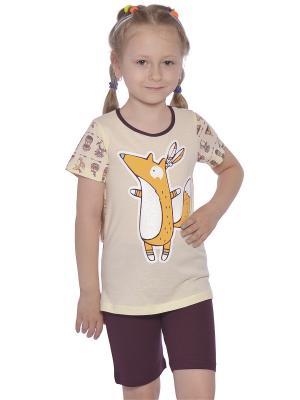 Пижама для девочки Купалинка. Цвет: бордовый,бежевый