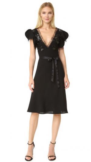 Платье из искусственной кожи и шерсти Rodarte. Цвет: голубой