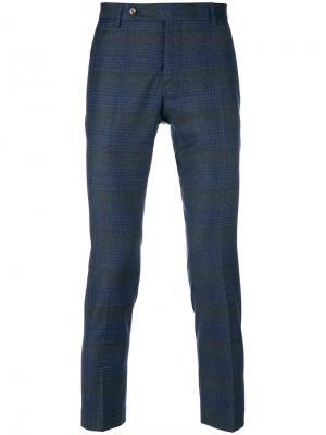 Укороченные брюки с полосатым узором Entre Amis. Цвет: синий