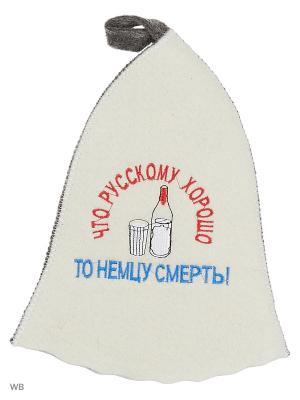 Шапка для бани с вышивкой в косметичке Что русскому хорошо Метиз. Цвет: белый, серый