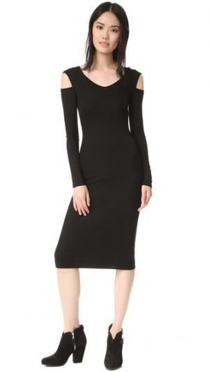 Миди-платье с открытыми плечами Enza Costa. Цвет: голубой