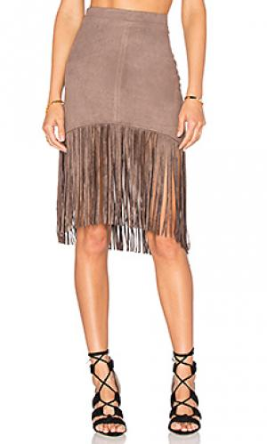 Замшевая юбка с бахромой Bishop + Young. Цвет: серо-коричневый