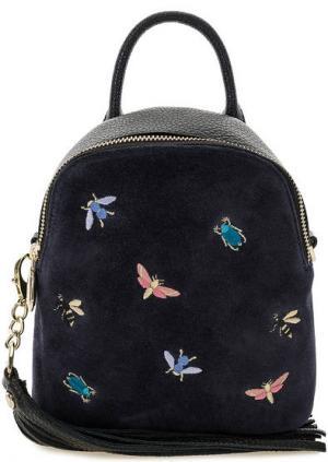 Маленький замшевый рюкзак с вышивкой Curanni. Цвет: черный