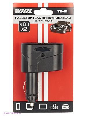 Разветвитель прикуривателя на 2 гнезда TR-01 WIIIX. Цвет: черный