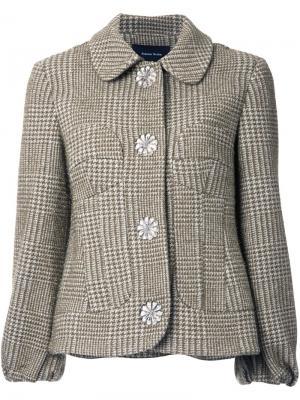 Твидовая куртка в ломаную клетку Simone Rocha. Цвет: зелёный