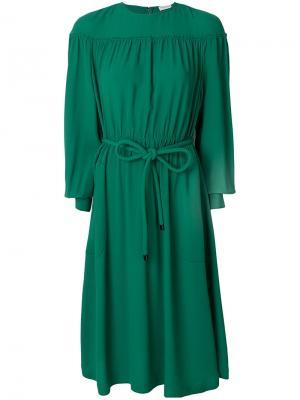 Присборенное платье миди Veronique Leroy. Цвет: зелёный