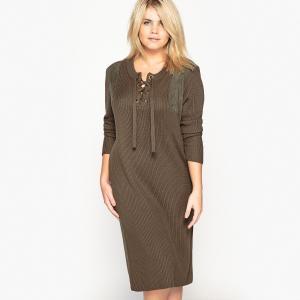 Платье-пуловер однотонное средней длины с длинными рукавами CASTALUNA. Цвет: хаки темный