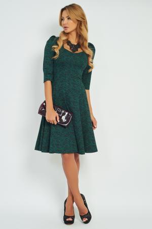 Трикотажное платье-миди с юбкой в сборку Vittoria Vicci. Цвет: зеленый