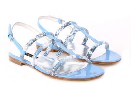 Кожаные голубые сандалии итальянского бренда Sandro Vicari
