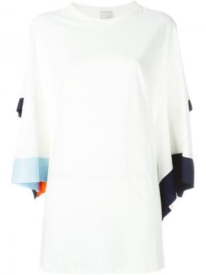 Платье с контрастной окантовкой Minki Cheng. Цвет: белый