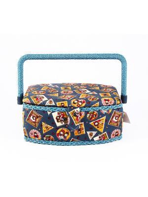 Шкатулка для рукоделия Сундучок Русские подарки. Цвет: темно-синий, синий