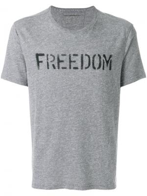 Футболка с принтом Freedom John Varvatos. Цвет: серый