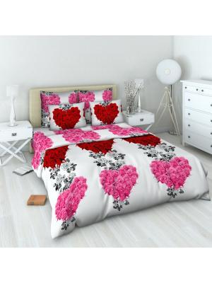 Комплект постельного белья из бязи Евро Василиса. Цвет: белый, красный, розовый