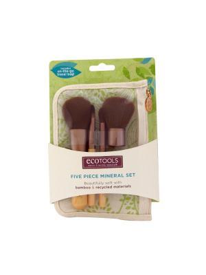 Набор кистей для макияжа Five Piеce Mineral Set Ecotools. Цвет: коричневый, бежевый