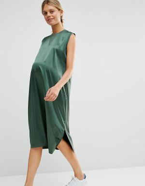 ASOS Maternity Платье миди для беременных с атласным передом. Цвет: зеленый
