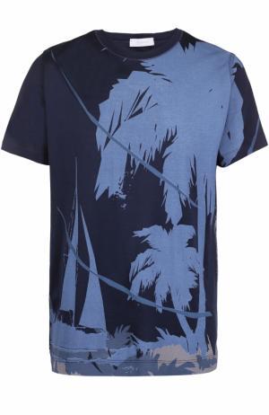 Хлопковая футболка с принтом Cortigiani. Цвет: темно-синий