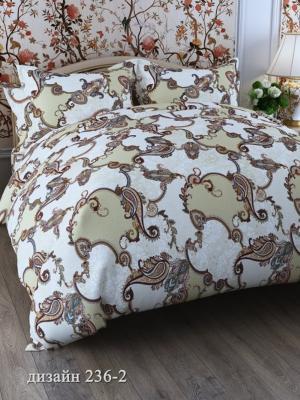 Комплект постельного белья, 2,0-сп, бязь, пододеяльник на молнии Letto. Цвет: бежевый, коричневый