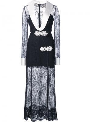 Кружевное платье с V-образным вырезом Alessandra Rich. Цвет: чёрный