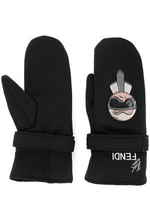 Варежки с вышивкой Karl Fendi. Цвет: чёрный