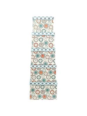 Коробка картонная,  набор из 5 шт. 22х22х16 - 30х30х20 см.Часы и ромбы. VELD-CO. Цвет: коричневый, светло-бежевый, светло-голубой