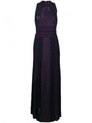 Длинное плиссированное платье с кружевом Roberto Cavalli. Цвет: розовый и фиолетовый